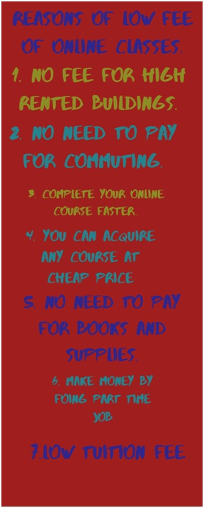 reasons for low fee of online classes